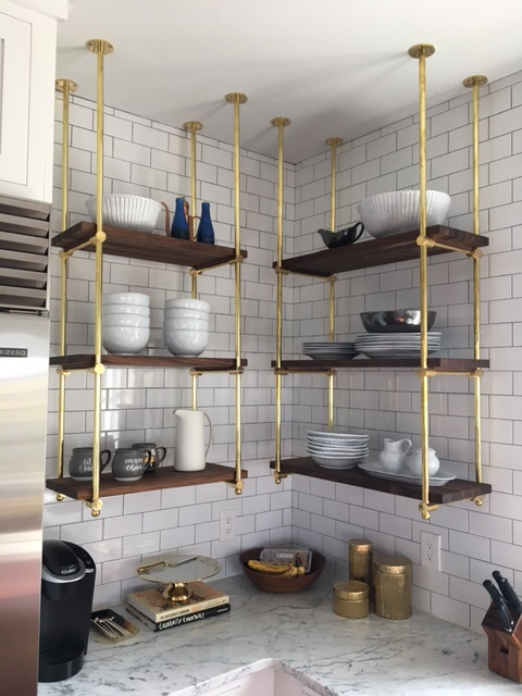 Brass kitchen shelves